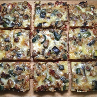 Pizza with Sausage, Eggplant, and Zucchini <h6>– Low Carb, Gluten-Free</h6>