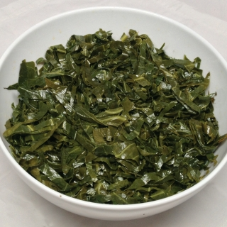 Buttered Slivered Collard Greens <h6>– Low Carb, Gluten Free</h6>