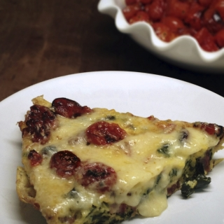 Healthy Frittata with Roasted Cherry Tomatoes, Kale, Sausage, and Cheddar