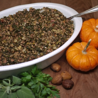 Gluten Free Stuffing with Herbs, Chestnuts, and Chicken Sausage <h6> – Low Carb, Gluten Free, Grain-Fee, Paleo </h6>