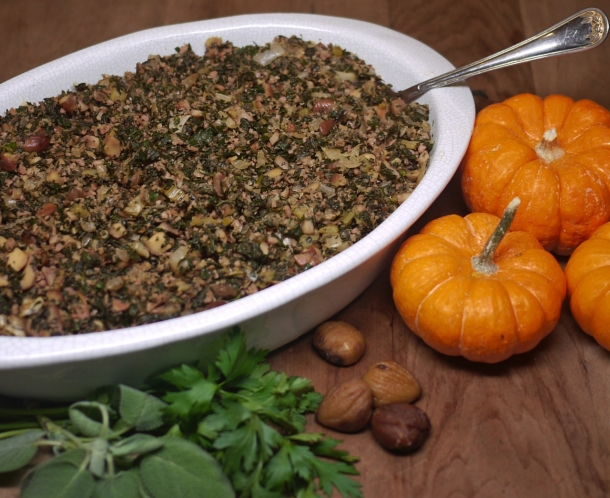 Stuffing with Herbs, Chestnuts, and Chicken Sausage
