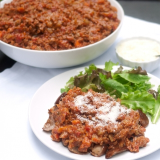 Sunday Meat Sauce with Hidden Vegetables – on a bed of roasted eggplant <h6> Low Carb, Gluten Free, Sugar Free </h6>