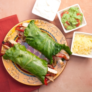 Chicken Fajitas with Collard Green Tortillas<h6> Low Carb, Gluten Free, Sugar Free, Dairy Free </h6>